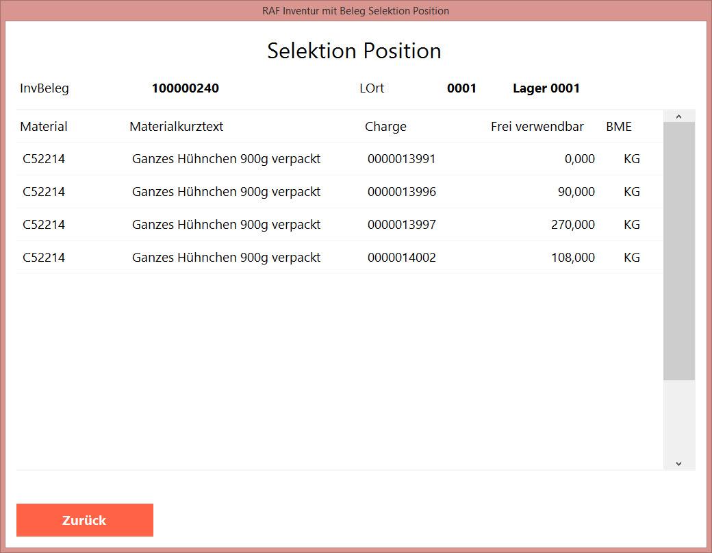 Selektion Position