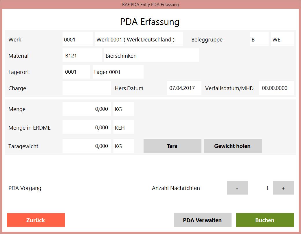PDA-Erfassung